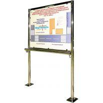 Вертикальная стойка с опорным поручнем для тактильной мнемосхемы 905х1150мм