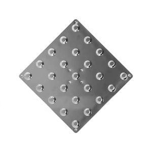 Плитка тактильная (линейный конус) 300х300 мм из нержавеющей стали