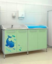 Медицинский пеленальный стол с ванночкой для мытья
